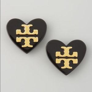Tory Burch Black & Gold Heart Logo Stud Earrings